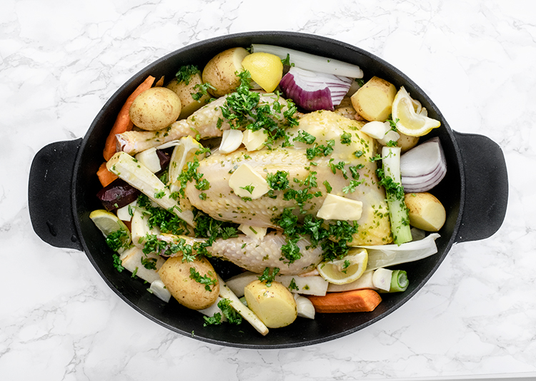 kylling, chicken, rodfrugter, root vegetables, kylling med rodfrugter, chicken with root vegetables