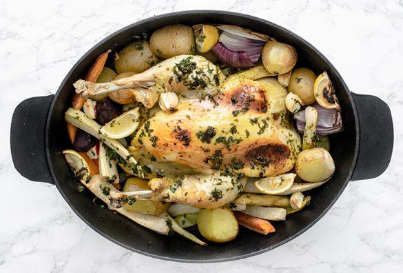 kylling, chocken, kylling med rodfrugter, chicken with root vegetables, root vegetables, rodfrugter, kylling i ovn, roasted chicken